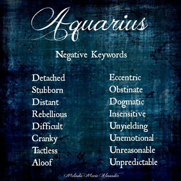 Aquarius negative keywords with text