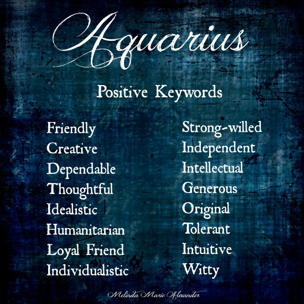 Aquarius positive keywords with text
