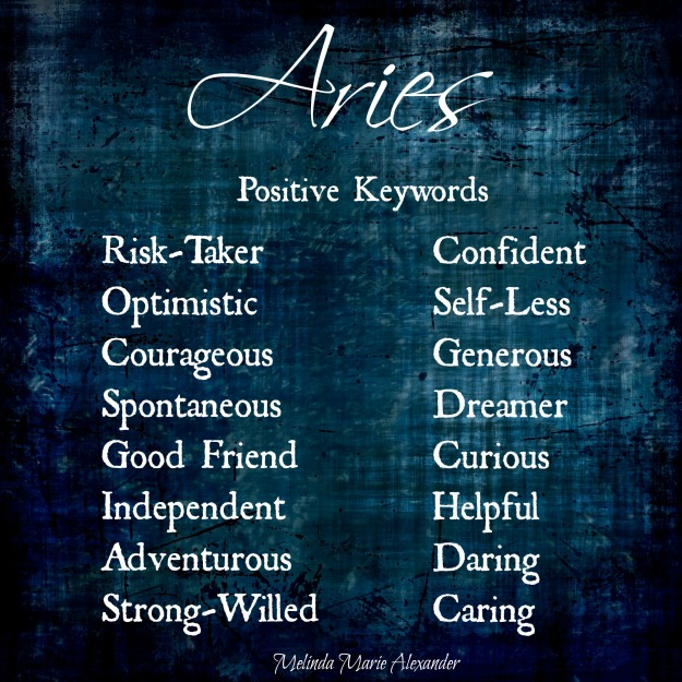 Aries positive keywords withtext
