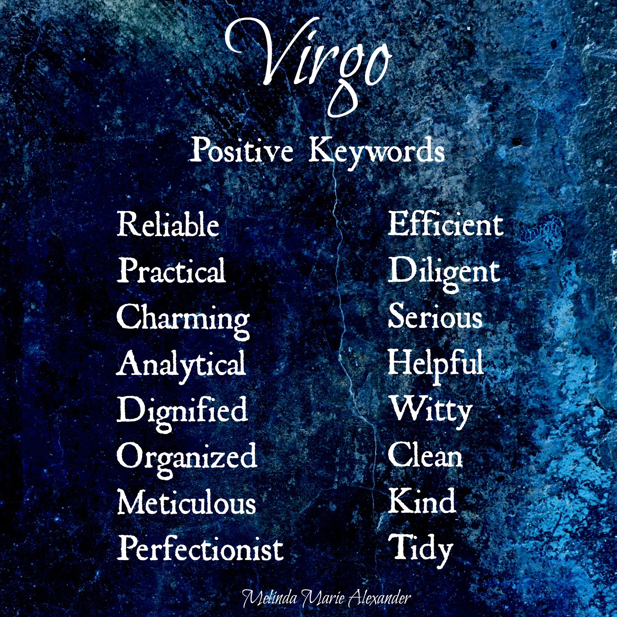 virgo positive keywords withtext