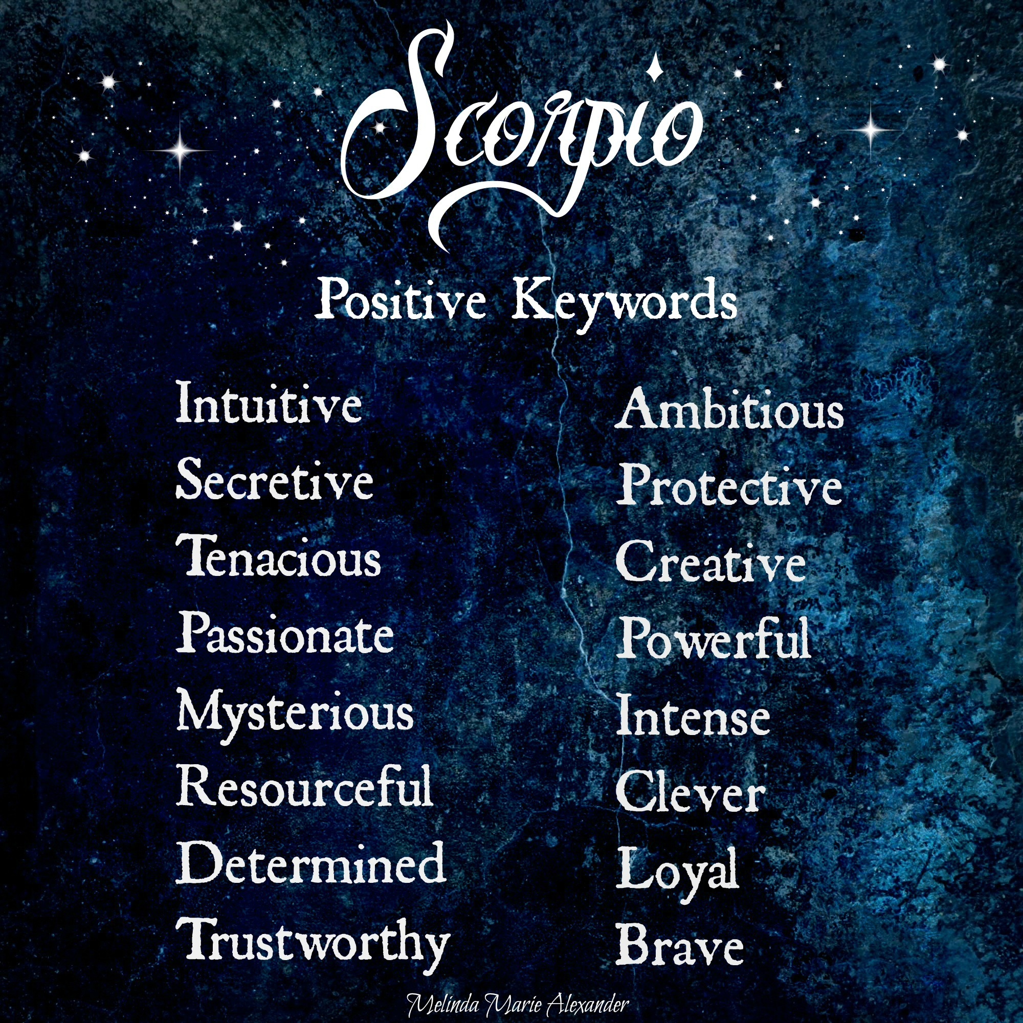 scorpio positive keywords withtextandstars